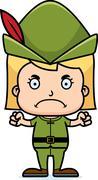 Cartoon Angry Robin Hood Girl - stock illustration