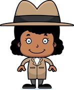 Stock Illustration of Cartoon Smiling Detective Girl
