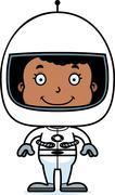 Cartoon Smiling Astronaut Girl - stock illustration