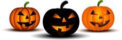 Scary pumpkins - stock illustration