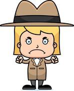 Cartoon Angry Detective Girl - stock illustration