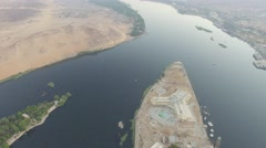 Egypt nile river, aswan drone birds eye view Stock Footage