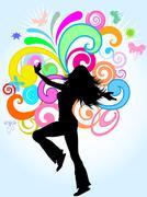 Funky female - stock illustration