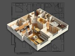 Stock Illustration of 3D Isometric House Interior