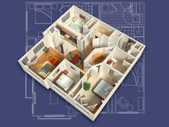3D Furnished House Interior on a Blueprint Stock Illustration