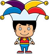 Cartoon Smiling Jester Boy Stock Illustration