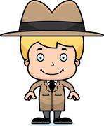 Cartoon Smiling Detective Boy - stock illustration