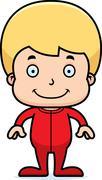 Cartoon Smiling Boy In Pajamas - stock illustration