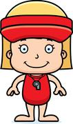 Cartoon Smiling Lifeguard Girl - stock illustration