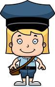 Cartoon Smiling Mail Carrier Girl Stock Illustration