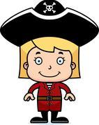 Cartoon Smiling Pirate Girl - stock illustration
