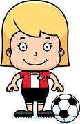 Cartoon Smiling Soccer Player Girl - stock illustration