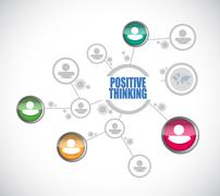 Stock Illustration of positive thinking network diagram sign concept