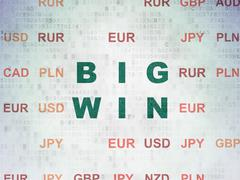 Finance concept: Big Win on Digital Paper background - stock illustration