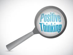 Stock Illustration of positive thinking magnify glass sign concept