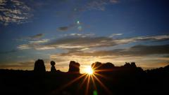 Balancing Rock Landscape Sunrise Stock Footage