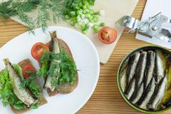 Sprats, bread, onion and tomatoes on a table Stock Photos