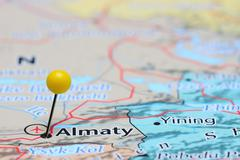 Almaty pinned on a map of Asia - stock photo