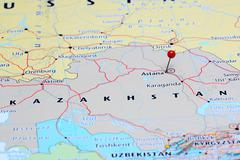 Astana pinned on a map of Asia Stock Photos