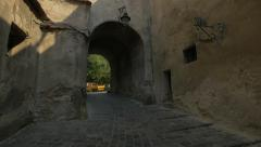 View of the medieval Turnului Street, Sighisoara Stock Footage