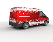 Christmas delivery van - stock photo