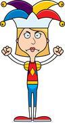 Cartoon Angry Jester Woman - stock illustration