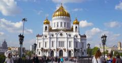 Patriarshiy Bridge in Moscow Stock Footage