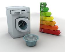 washing machine and laundry basket - stock photo