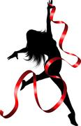 Ribbon dancer - stock illustration