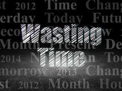 Timeline concept: Wasting Time in grunge dark room - stock illustration