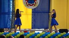 Girls sing the Ukrainian songs Stock Footage