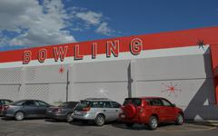 Bowling Alley Exterior Sign - stock photo