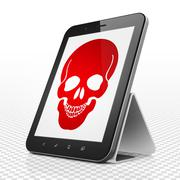Health concept: Tablet Computer with Scull on display Stock Illustration