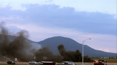 Pick-up Truck on fire on the Highway near Montreal, Quebec, Canada - stock footage