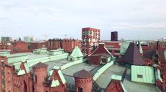 Hamburg Speicherstadt and Hafencity Aerial View Stock Footage