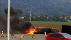 Pick-up Truck on fire on the Highway near Montreal, Quebec, Canada Stock Footage