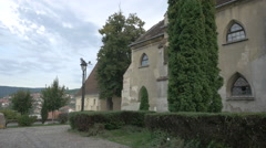 One of Monastery Church's walls in Sighisoara Stock Footage