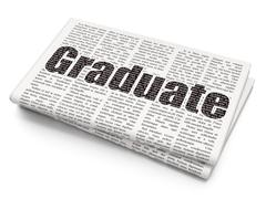 Learning concept: Graduate on Newspaper background - stock illustration