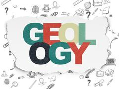 Stock Illustration of Studying concept: Geology on Torn Paper background