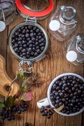 Fruits of black chokeberry prepared for processing - stock photo
