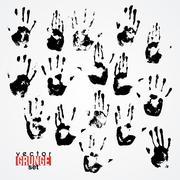 Set of traced ink handstamps. Blots. Grunge Stock Illustration
