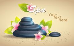 Spa Background of Black Pebble and Small Flowers - stock illustration