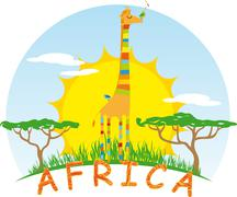 Stock Illustration of Sunny Giraffe on Background of the African Sun