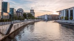 Berlin Reichstag and Spree river Hyperlapse - stock footage