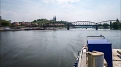 Prague Moldova River Time Lapse - stock footage