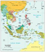 Southeast Asia political map - stock illustration