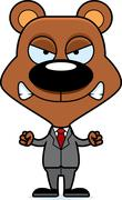 Cartoon Angry Businessperson Bear - stock illustration