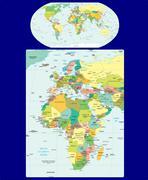 World Europe Africa political map - stock illustration