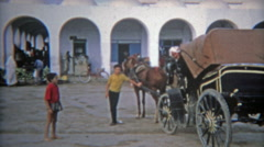 1972: Tunisian marketplace hustle and bustle of Arab port city. - stock footage