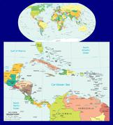 World Central America Caribbean political maps - stock illustration